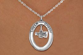 """<br>             WHOLESALE CHEER JEWELRY <bR>                  EXCLUSIVELY OURS!! <BR>             AN ALLAN ROBIN DESIGN!! <BR>                LEAD & NICKEL FREE!! <BR> W20348N -  SILVER TONE """"CHEER"""" OVAL <BR> WITH SILVER TONE """"GO TEAM"""" MEGAPHONE <BR>        CHARM ON CHAIN LINK NECKLACE <BR>          FROM $5.85 TO $13.00 �2013"""