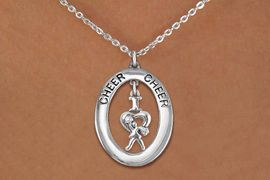 """<br>             WHOLESALE CHEER JEWELRY <bR>                  EXCLUSIVELY OURS!! <BR>             AN ALLAN ROBIN DESIGN!! <BR>                LEAD & NICKEL FREE!! <BR> W20354N -  SILVER TONE """"CHEER"""" OVAL <BR>     WITH SILVER TONE """"I LOVE CHEER"""" <BR>        CHARM ON CHAIN LINK NECKLACE <BR>          FROM $5.85 TO $13.00 �2013"""