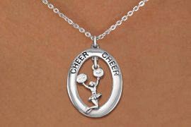 """<BR>      WHOLESALE CHEER LEADER JEWELRY<bR>                   EXCLUSIVELY OURS!! <BR>              AN ALLAN ROBIN DESIGN!!<BR>                 LEAD & NICKEL FREE!! <BR> W20033N -  SILVER TONE """"CHEER"""" OVAL <BR> WITH JUMPING POMS CHEERLEADER CHARM <BR>      CHARM ON CHAIN LINK NECKLACE <BR>          FROM $5.85 TO $13.00 �2013"""