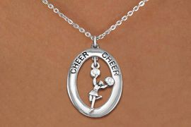 """<BR>      WHOLESALE CHEER LEADING JEWELRY<bR>                   EXCLUSIVELY OURS!! <BR>              AN ALLAN ROBIN DESIGN!!<BR>                 LEAD & NICKEL FREE!! <BR> W20029N -  SILVER TONE """"CHEER"""" OVAL <BR>  WITH POM POMS CHEERLEADER CHARM <BR>      CHARM ON CHAIN LINK NECKLACE <BR>          FROM $5.85 TO $13.00 �2013"""