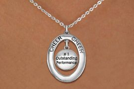 """<BR>      WHOLESALE CHEER LEADING NECKLACE<bR>                   EXCLUSIVELY OURS!! <BR>              AN ALLAN ROBIN DESIGN!!<BR>                 LEAD & NICKEL FREE!! <BR> W20025N -  SILVER TONE """"CHEER"""" OVAL <BR> WITH """"#1 OUTSTANDING PERFORMANCE"""" <BR>      CHARM ON CHAIN LINK NECKLACE <BR>          FROM $5.85 TO $13.00 �2013"""