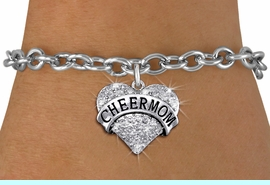 """<BR>      WHOLESALE CHEER MOM BRACELET<bR>                EXCLUSIVELY OURS!! <Br>           AN ALLAN ROBIN DESIGN!! <BR>  CLICK HERE TO SEE 1000+ EXCITING <BR>        CHANGES THAT YOU CAN MAKE! <BR>     LEAD, NICKEL & CADMIUM FREE!! <BR> W1412SB - SILVER TONE """"CHEER MOM"""" <BR> CLEAR CRYSTAL HEART CHARM & BRACELET <BR>         FROM $5.40 TO $9.85 �2013"""