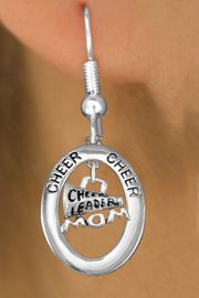 "<BR>      WHOLESALE CHEER MOM EARRING<bR>                   EXCLUSIVELY OURS!! <BR>              AN ALLAN ROBIN DESIGN!!<BR>                 LEAD & NICKEL FREE!! <BR> W20026E -  SILVER TONE ""CHEER"" OVAL <BR> WITH CHEERLEADER MOM MEGAPHONE <BR>       ON A PAIR OF FISHHOOK EARRINGS <BR>            FROM $8.10 TO $18.00 �2013"