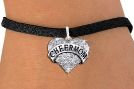 """<BR>      WHOLESALE CHEER MOM JEWELRY<bR>                EXCLUSIVELY OURS!! <Br>           AN ALLAN ROBIN DESIGN!! <BR>  CLICK HERE TO SEE 1000+ EXCITING <BR>        CHANGES THAT YOU CAN MAKE! <BR>     LEAD, NICKEL & CADMIUM FREE!! <BR> W1412SB - SILVER TONE """"CHEER MOM"""" <BR> CLEAR CRYSTAL HEART CHARM & BRACELET <BR>         FROM $5.40 TO $9.85 �2013"""