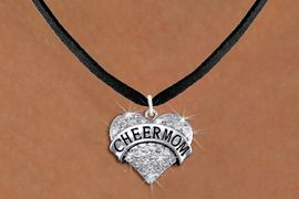 """<BR>      WHOLESALE CHEER MOM JEWELRY<bR>                   EXCLUSIVELY OURS!! <Br>              AN ALLAN ROBIN DESIGN!! <BR>     CLICK HERE TO SEE 1000+ EXCITING <BR>           CHANGES THAT YOU CAN MAKE! <BR>        LEAD, NICKEL & CADMIUM FREE!! <BR> W1412SN - SILVER TONE """"CHEER MOM"""" CLEAR <BR>     CRYSTAL HEART CHARM AND NECKLACE <BR>            FROM $5.40 TO $9.85 �2013"""