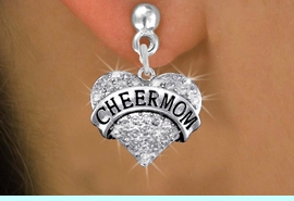 "<BR>      WHOLESALE CHEER MOM JEWELRY<bR>              EXCLUSIVELY OURS!! <Br>         AN ALLAN ROBIN DESIGN!! <BR>   LEAD, NICKEL & CADMIUM FREE!! <BR> W1412SE - SILVER TONE ""CHEER MOM"" <BR> CLEAR CRYSTAL HEART CHARM EARRINGS <BR>      FROM $4.95 TO $10.00 �2013"