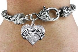 "<BR>      WHOLESALE CHEER MOM JEWELRY<bR>                 EXCLUSIVELY OURS!! <BR>            AN ALLAN ROBIN DESIGN!! <BR>   LEAD, CADMIUM, & NICKEL FREE!! <BR> W1412SB - SILVER TONE ""CHEER MOM"" <BR>   CLEAR CRYSTAL HEART CHARM ON <BR>   HEART LOBSTER CLASP BRACELET <Br>     FROM $5.63 TO $12.50 �2013"