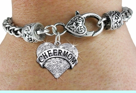 """<BR>      WHOLESALE CHEER MOM JEWELRY<bR>                 EXCLUSIVELY OURS!! <BR>            AN ALLAN ROBIN DESIGN!! <BR>   LEAD, CADMIUM, & NICKEL FREE!! <BR> W1412SB - SILVER TONE """"CHEER MOM"""" <BR>   CLEAR CRYSTAL HEART CHARM ON <BR>   HEART LOBSTER CLASP BRACELET <Br>     FROM $5.63 TO $12.50 �2013"""