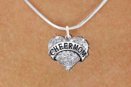 "<BR>      WHOLESALE CHEER MOM NECKLACE<bR>                   EXCLUSIVELY OURS!! <Br>              AN ALLAN ROBIN DESIGN!! <BR>     CLICK HERE TO SEE 1000+ EXCITING <BR>           CHANGES THAT YOU CAN MAKE! <BR>        LEAD, NICKEL & CADMIUM FREE!! <BR> W1412SN - SILVER TONE ""CHEER MOM"" CLEAR <BR>     CRYSTAL HEART CHARM AND NECKLACE <BR>            FROM $5.40 TO $9.85 �2013"