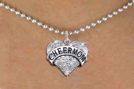 """<BR>      WHOLESALE CHEER MOM NECKLACE<bR>                   EXCLUSIVELY OURS!! <Br>              AN ALLAN ROBIN DESIGN!! <BR>     CLICK HERE TO SEE 1000+ EXCITING <BR>           CHANGES THAT YOU CAN MAKE! <BR>        LEAD, NICKEL & CADMIUM FREE!! <BR> W1412SN - SILVER TONE """"CHEER MOM"""" CLEAR <BR>     CRYSTAL HEART CHARM AND NECKLACE <BR>            FROM $5.40 TO $9.85 �2013"""