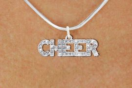 """<BR>                        CHEER NECKLACE<bR>                   EXCLUSIVELY OURS!! <Br>              AN ALLAN ROBIN DESIGN!! <BR><BR>        LEAD, NICKEL & CADMIUM FREE!! <BR>      1410N2 - SILVER TONE AND CRYSTAL <BR>  """"CHEER"""" WORD CHARM AND NECKLACE <BR>                           $9.38 �2013"""