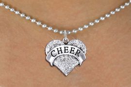 """<BR>      WHOLESALE CHEER NECKLACE<bR>                  EXCLUSIVELY OURS!! <Br>             AN ALLAN ROBIN DESIGN!! <BR>    CLICK HERE TO SEE 1000+ EXCITING <BR>          CHANGES THAT YOU CAN MAKE! <BR>       LEAD, NICKEL & CADMIUM FREE!! <BR> W1408SN - SILVER TONE """"CHEER"""" CLEAR <BR>    CRYSTAL HEART CHARM AND NECKLACE <BR>           FROM $5.40 TO $9.85 �2013"""