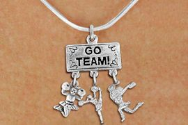 """<br>         WHOLESALE CHEER NECKLACE<Br>                EXCLUSIVELY OURS!! <Br>           AN ALLAN ROBIN DESIGN!! <Br>              LEAD & NICKEL FREE!! <BR>  W20141N - SILVER TONE """"GO TEAM!"""" <BR>  CHEERLEADING THEMED PENDANT WITH <BR> JUMPING, SPIRIT AND POM CHEERLEADER <BR>    CHARMS ON SNAKE CHAIN NECKLACE <BR>          FROM $7.85 TO $17.50 �2013"""