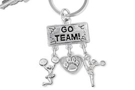 "<br> WHOLESALE CHEER PAW KEYCHAIN<Br>                 EXCLUSIVELY OURS!! <Br>            AN ALLAN ROBIN DESIGN!! <Br>               LEAD & NICKEL FREE!! <BR>  W20137KC - SILVER TONE ""GO TEAM!"" <BR>  CHEERLEADING THEMED KEY RING WITH <BR>   PAW PRINT HEART AND CHEERLEADERS <BR>          FROM $6.41 TO $14.25 �2013"