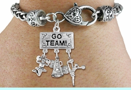 """<br> WHOLESALE CHEERLEADER BRACELET<Br>                 EXCLUSIVELY OURS!! <Br>            AN ALLAN ROBIN DESIGN!! <Br>               LEAD & NICKEL FREE!! <BR>   W20132B - SILVER TONE """"GO TEAM!"""" <BR>   CHEERLEADING THEMED PENDANT WITH <BR> """"CHEER"""" MEGAPHONE AND CHEERLEADERS <BR>    ON HEART LOBSTER CLASP BRACELET <BR>          FROM $9.00 TO $20.00 �2013"""
