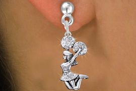 <BR>      WHOLESALE CHEERLEADER EARRING<bR>               EXCLUSIVELY OURS!! <Br>          AN ALLAN ROBIN DESIGN!! <BR>    LEAD, NICKEL & CADMIUM FREE!! <BR> W1409SE - SILVER TONE AND CRYSTAL <BR> JUMPING CHEERLEADER CHARM EARRINGS <BR>                    $11.68 �2013
