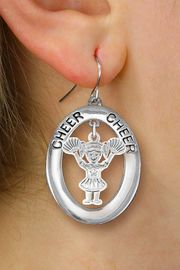 "<br>         WHOLESALE CHEERLEADER JEWELRY <bR>                    EXCLUSIVELY OURS!! <BR>               AN ALLAN ROBIN DESIGN!! <BR>                  LEAD & NICKEL FREE!! <BR>   W20345E -  SILVER TONE ""CHEER"" OVAL <BR> WITH LITTLE GIRL CHEERLEADER POM POMS <BR>  CHARM ON A PAIR OF FISHHOOK EARRINGS <BR>            FROM $8.10 TO $18.00 �2013"