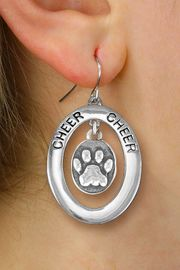 "<br>         WHOLESALE CHEERLEADER JEWELRY <bR>                    EXCLUSIVELY OURS!! <BR>               AN ALLAN ROBIN DESIGN!! <BR>                  LEAD & NICKEL FREE!! <BR>   W20349E -  SILVER TONE ""CHEER"" OVAL <BR>  WITH SILVER TONE ""3D"" PAW PRINT OVAL <BR>  CHARM ON A PAIR OF FISHHOOK EARRINGS <BR>            FROM $8.10 TO $18.00 �2013"