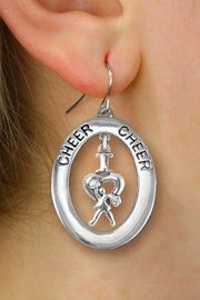 "<br>         WHOLESALE CHEERLEADER JEWELRY <bR>                    EXCLUSIVELY OURS!! <BR>               AN ALLAN ROBIN DESIGN!! <BR>                  LEAD & NICKEL FREE!! <BR>   W20353E -  SILVER TONE ""CHEER"" OVAL <BR> WITH SILVER TONE ""I LOVE CHEER"" CHARM <BR>        ON A PAIR OF FISHHOOK EARRINGS <BR>            FROM $8.10 TO $18.00 �2013"