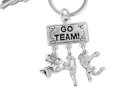 "<br> WHOLESALE CHEERLEADER KEYCHAIN<Br>                  EXCLUSIVELY OURS!! <Br>             AN ALLAN ROBIN DESIGN!! <Br>                LEAD & NICKEL FREE!! <BR>   W20142KC - SILVER TONE ""GO TEAM!"" <BR>   CHEERLEADING THEMED KEY RING WITH <BR> JUMPING, SPIRIT AND POM CHEERLEADERS <BR>           FROM $6.41 TO $14.25 �2013"