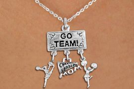 """<br>WHOLESALE CHEERLEADER MOM NECKLACE<Br>                EXCLUSIVELY OURS!! <Br>           AN ALLAN ROBIN DESIGN!! <Br>              LEAD & NICKEL FREE!! <BR>  W20139N - SILVER TONE """"GO TEAM!"""" <BR>  CHEERLEADING THEMED PENDANT WITH <BR> CHEER MOM MEGAPHONE & CHEERLEADER <BR>     CHARMS ON CHAIN LINK NECKLACE <BR>          FROM $7.85 TO $17.50 �2013"""