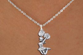 <BR>      WHOLESALE CHEERLEADER NECKLACE<bR>                 EXCLUSIVELY OURS!! <Br>            AN ALLAN ROBIN DESIGN!! <BR>   CLICK HERE TO SEE 1000+ EXCITING <BR>         CHANGES THAT YOU CAN MAKE! <BR>      LEAD, NICKEL & CADMIUM FREE!! <BR>  W1409SN - SILVER TONE AND CRYSTAL <BR> JUMPING CHEERLEADER CHARM NECKLACE <BR>                       $9.38 �2013