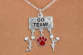 """<br> WHOLESALE CHEERLEADER NECKLACE<Br>                EXCLUSIVELY OURS!! <Br>           AN ALLAN ROBIN DESIGN!! <Br>              LEAD & NICKEL FREE!! <BR>       THIS IS A PERSONALIZED ITEM <Br>  W20140N - SILVER TONE """"GO TEAM!"""" <BR>  CHEERLEADING THEMED PENDANT WITH <BR>       COLOR PAW AND 2 CHEERLEADER <BR>     CHARMS ON CHAIN LINK NECKLACE <BR>          FROM $7.85 TO $17.50 �2013"""