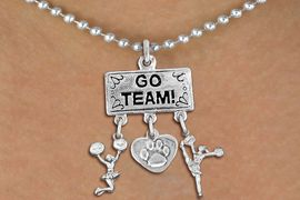 """<br> WHOLESALE CHEERLEADER NECKLACE<Br>                EXCLUSIVELY OURS!! <Br>           AN ALLAN ROBIN DESIGN!! <Br>              LEAD & NICKEL FREE!! <BR>  W20128N - SILVER TONE """"GO TEAM!"""" <BR>  PAW HEART AND CHEERLEADER CHARMS <BR>       CHEERLEADING THEMED PENDANT <BR>            ON BALL CHAIN NECKLACE <BR>          FROM $7.85 TO $17.50 �2013"""