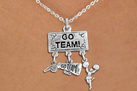 """<br> WHOLESALE CHEERLEADER NECKLACE<Br>                EXCLUSIVELY OURS!! <Br>           AN ALLAN ROBIN DESIGN!! <Br>              LEAD & NICKEL FREE!! <BR>  W20130N - SILVER TONE """"GO TEAM!"""" <BR>  CHEERLEADING THEMED PENDANT WITH <BR> WHISTLE, MEGAPHONE & CHEERLEADER <BR>   ON LOBSTER CLASP CHAIN NECKLACE <BR>          FROM $7.85 TO $17.50 �2013"""