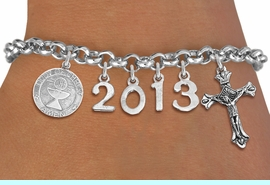 <br> WHOLESALE CHRISTIAN CHARM BRACELETS! <Br>                     EXCLUSIVELY OURS!!<Br>                AN ALLAN ROBIN DESIGN!!<Br>                  LEAD & NICKEL FREE!! <BR>           THIS IS A PERSONALIZED ITEM <Br>   W20401B - SILVER TONE LOBSTER CLASP <BR> COMMUNION THEMED CUSTOM YEAR BRACELET <BR>           FROM $9.00 TO $20.00 �2013