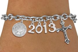 <br> WHOLESALE CHRISTIAN CHARM BRACELETS! <Br>                     EXCLUSIVELY OURS!!<Br>                AN ALLAN ROBIN DESIGN!!<Br>                  LEAD & NICKEL FREE!! <BR>           THIS IS A PERSONALIZED ITEM <Br>   W20402B - SILVER TONE TOGGLE CLASP <BR> COMMUNION THEMED CUSTOM YEAR BRACELET <BR>           FROM $9.00 TO $20.00 �2013