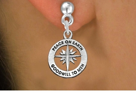 """<BR>WHOLESALE CHRISTIAN JEWELRY<bR>                 EXCLUSIVELY OURS!!<BR>           AN ALLAN ROBIN DESIGN!!<BR>  CLICK HERE TO SEE 1000+ EXCITING<BR>     CHANGES THAT YOU CAN MAKE!<BR> CADMIUM, LEAD & NICKEL FREE!! <BR>W1313SE - ROUND SILVER TONE <BR>""""PEACE ON EARTH"""" CHRISTMAS CHARM <BR>EARRINGS FROM $4.50 TO $8.35 �2012"""