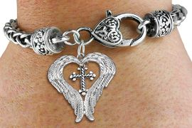 <BR>WHOLESALE CHRISTIAN JEWELRY<bR>               EXCLUSIVELY OURS!! <BR>             LEAD & NICKEL FREE!! <BR> CHRISTIAN THEMED CHARM BRACELET! <BR>  W20259B - GUARDIAN ANGEL WINGS <Br>   WITH SILVER TONE TWIST CROSS <BR>    CHARM & HEART CLASP BRACELET <BR>      FROM $6.19 TO $13.75 �2013