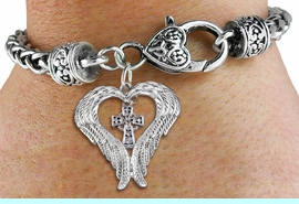 <br>      WHOLESALE CHRISTIAN JEWELRY<bR>               EXCLUSIVELY OURS!! <BR>             LEAD & NICKEL FREE!! <BR> CHRISTIAN THEMED CHARM BRACELET! <BR>  W20267B - GUARDIAN ANGEL WINGS <Br>   WITH SILVER TONE CELTIC CROSS <BR>    CHARM & HEART CLASP BRACELET <BR>      FROM $6.19 TO $13.75 �2013