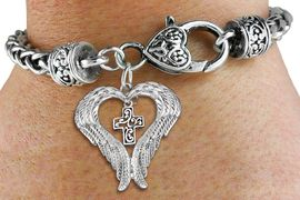 <BR>WHOLESALE CHRISTIAN JEWELRY<bR>               EXCLUSIVELY OURS!! <BR>             LEAD & NICKEL FREE!! <BR> CHRISTIAN THEMED CHARM BRACELET! <BR>  W20277B - GUARDIAN ANGEL WINGS <Br>   WITH SILVER TONE SCRIPT CROSS <BR>    CHARM & HEART CLASP BRACELET <BR>      FROM $6.19 TO $13.75 �2013
