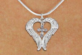 <BR>WHOLESALE CHRISTIAN JEWELRY<bR>               EXCLUSIVELY OURS!! <BR>             LEAD & NICKEL FREE!! <BR> CHRISTIAN THEMED CHARM NECKLACE! <BR>   W20262N - GUARDIAN ANGEL WINGS <Br>    WITH SILVER TONE SCRIPT CROSS <BR>   CHARM ON SNAKE CHAIN NECKLACE <BR>      FROM $5.63 TO $12.50 �2013