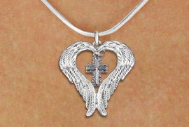 <BR>WHOLESALE CHRISTIAN JEWELRY<bR>               EXCLUSIVELY OURS!! <BR>             LEAD & NICKEL FREE!! <BR> CHRISTIAN THEMED CHARM NECKLACE! <BR>   W20266N - GUARDIAN ANGEL WINGS <Br>    WITH SILVER TONE SCRIPT CROSS <BR>   CHARM ON SNAKE CHAIN NECKLACE <BR>      FROM $5.63 TO $12.50 �2013