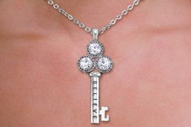 "<br>    WHOLESALE CHRISTIAN NECKLACE SET <bR>        CADMIUM, LEAD & NICKEL FREE!! <BR> W20592NE - BRIGHT SILVER TONE AND <BR> AUSTRIAN CRYSTAL ""KEY TO BELIEVING"" <BR>   PENDENT NECKLACE AND EARRING SET <BR>         FROM $8.55 TO $15.00 �2013"