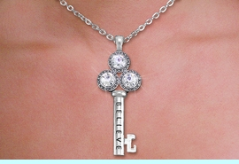 """<br>    WHOLESALE CHRISTIAN NECKLACE SET <bR>        CADMIUM, LEAD & NICKEL FREE!! <BR> W20592NE - BRIGHT SILVER TONE AND <BR> AUSTRIAN CRYSTAL """"KEY TO BELIEVING"""" <BR>   PENDENT NECKLACE AND EARRING SET <BR>         FROM $8.55 TO $15.00 �2013"""