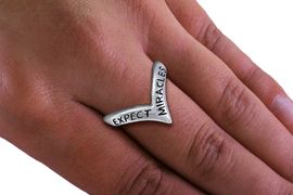 """<BR>       WHOLESALE CHRISTIAN RINGS <BR> CADMIUM,  LEAD,  AND NICKEL FREE!!!! <Br>W20595R - SILVER TONE """"EXPECT MIRACLES"""" <BR> STRETCH RING FROM $2.25 TO $5.00 �2013"""