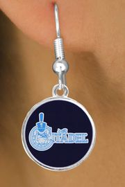 """<BR>WHOLESALE CITADEL COLLEGE JEWELRY<Br>            LEAD & NICKEL FREE!! <Br>          OFFICIALLY LICENSED!!! <bR>  W20234E - THE CITADEL MILITARY <Br> COLLEGE """"BULLDOG"""" LOGO EARRINGS <BR>             FROM $3.94 TO $8.75"""