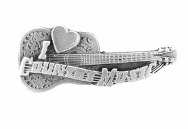 "<br> WHOLESALE COUNTRY MUSIC JEWELRY<Br>                 LEAD & NICKEL FREE!!<Br>W15874P - ""I LOVE COUNTRY MUSIC""<Br>          PEWTER FINISH GUITAR PIN<BR>                 FROM $2.25 TO $5.00"