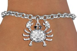 <BR>      WHOLESALE CRAB JEWELRY<bR>                EXCLUSIVELY OURS!! <Br>           AN ALLAN ROBIN DESIGN!! <BR>  CLICK HERE TO SEE 1000+ EXCITING <BR>        CHANGES THAT YOU CAN MAKE! <BR>     LEAD, NICKEL & CADMIUM FREE!! <BR> W1421SB - SILVER TONE CRAB JET AND <BR>    CLEAR CRYSTAL CHARM & BRACELET <BR>         FROM $5.40 TO $9.85 �2013