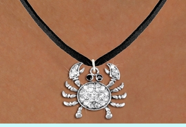 <BR>      WHOLESALE CRAB NECKLACE<bR>                   EXCLUSIVELY OURS!! <Br>              AN ALLAN ROBIN DESIGN!! <BR>     CLICK HERE TO SEE 1000+ EXCITING <BR>           CHANGES THAT YOU CAN MAKE! <BR>        LEAD, NICKEL & CADMIUM FREE!! <BR> W1421SN - SILVER TONE CRAB WITH JET <BR>& CLEAR CRYSTAL CHARM AND NECKLACE <BR>            FROM $5.40 TO $9.85 �2013