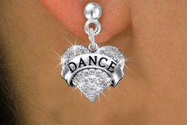 "<BR>      DANCE EARRING<bR>              EXCLUSIVELY OURS!! <Br>         AN ALLAN ROBIN DESIGN!! <BR>   LEAD, NICKEL & CADMIUM FREE!! <BR> W1414SE - SILVER TONE ""DANCE"" CLEAR <BR>    CRYSTAL HEART CHARM EARRINGS <BR>                 $12.68 EACH �2013"