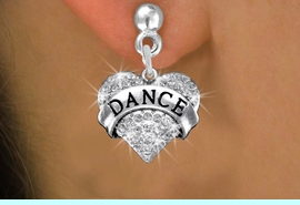 """<BR>      DANCE EARRING<bR>              EXCLUSIVELY OURS!! <Br>         AN ALLAN ROBIN DESIGN!! <BR>   LEAD, NICKEL & CADMIUM FREE!! <BR> W1414SE - SILVER TONE """"DANCE"""" CLEAR <BR>    CRYSTAL HEART CHARM EARRINGS <BR>                 $12.68 EACH �2013"""