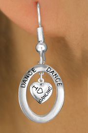 """<BR>      WHOLESALE DANCE EARRING<bR>                    EXCLUSIVELY OURS!! <BR>               AN ALLAN ROBIN DESIGN!!<BR>                  LEAD & NICKEL FREE!! <BR> W20044E -  SILVER TONE """"DANCE"""" OVAL <BR> WITH SILVER TONE """"I LOVE DANCING"""" HEART <BR>       CHARM ON FISHHOOK EARRINGS <BR>                      $12.68 EACH  �2013"""