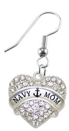"<BR>    WHOLESALE ""NAVY MOM"" FASHION EARRING  <bR>                      EXCLUSIVELY OURS!!  <Br>                 AN ALLAN ROBIN DESIGN!!  <BR>           NICKEL,   LEAD, & CADMIUM FREE!!  <BR>             W1751E1 -  SILVER TONE AND  <BR>       CLEAR CRYSTAL ""NAVY MOM"" CHARM  <BR>     ON SURGICAL STEEL FISHHOOK EARRINGS <BR>              WHOLESALE  $14.68 EACH �2015"