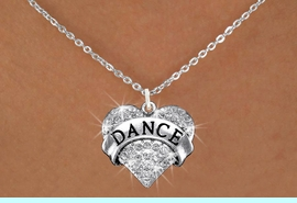 """<BR>                    DANCE NECKLACE<bR>                   EXCLUSIVELY OURS!! <Br>              AN ALLAN ROBIN DESIGN!! <BR>     CLICK HERE TO SEE 1000+ EXCITING <BR>           CHANGES THAT YOU CAN MAKE! <BR>        LEAD, NICKEL & CADMIUM FREE!! <BR>  W1414SN - SILVER TONE """"DANCE"""" CLEAR <BR>     CRYSTAL HEART CHARM AND NECKLACE <BR>                         $9.68 EACH  �2013"""