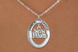 "<BR>      WHOLESALE DANCE NECKLACE<bR>                   EXCLUSIVELY OURS!! <BR>              AN ALLAN ROBIN DESIGN!! <BR>                 LEAD & NICKEL FREE!! <BR> W20051N -  SILVER TONE ""DANCE"" OVAL <BR>       WITH SILVER TONE ""5678 DANCE"" <BR>      CHARM ON CHAIN LINK NECKLACE <BR>                   $10.38 EACH �2013"